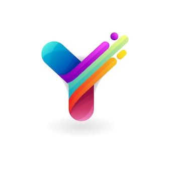 文字yロゴ3dカラフルなデザイン、モダンなアイコン