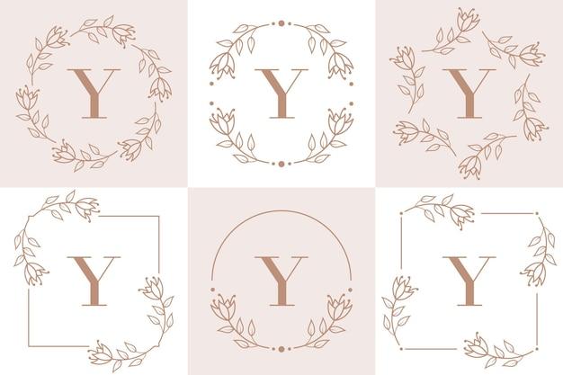 난초 잎 요소와 편지 y 로고 디자인
