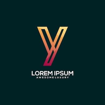 Letter y logo luxury gold color illustration