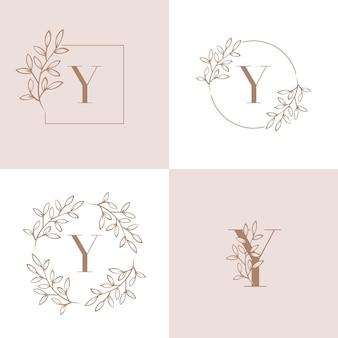 Letter y logo monogram design with orchid leaf set