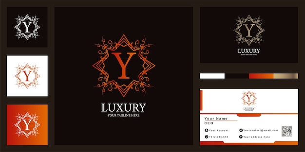 Letter y luxury ornament or floral frame logo template with business card design.