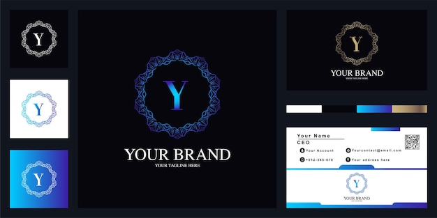 Letter y luxury ornament flower frame logo template design with business card.