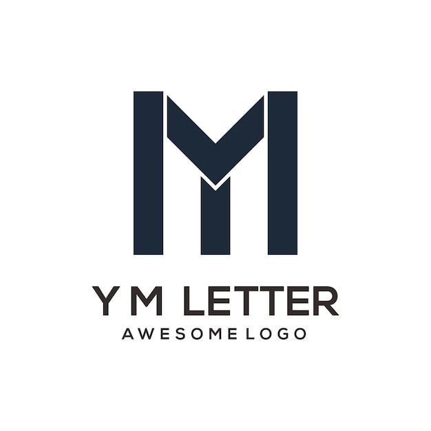 편지 ym 추상적인 로고 디자인 실루엣