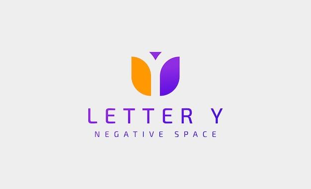 편지 y 현대 로고 디자인은 네거티브 공간으로 단순합니다.