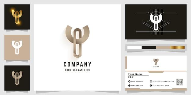명함 디자인의 문자 y 또는 t 모노그램 로고