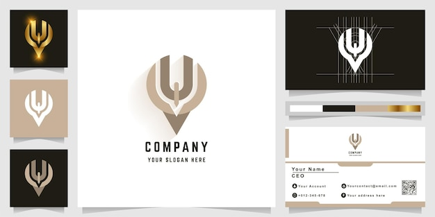Letter y or pin u monogram logo with business card design