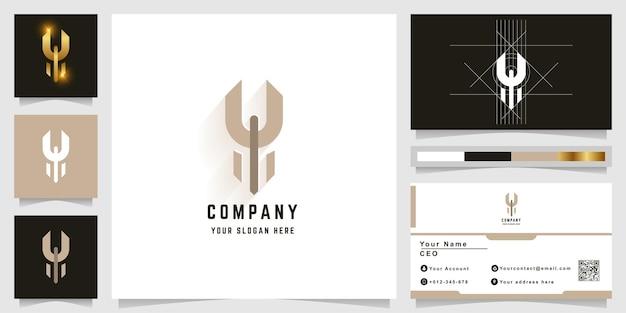 Letter y or u monogram logo with business card design