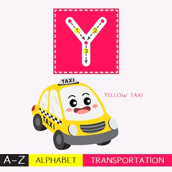 Letter y uppercase tracing transportations vocabulary