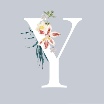 Letter y with blossoms