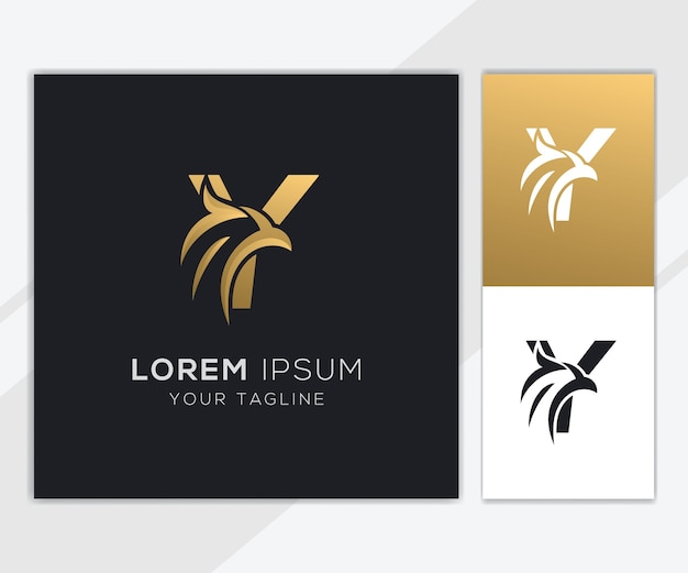 Letter y with luxury abstract eagle logo template