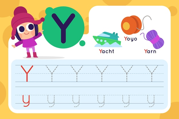 Letter y worksheet with yacht and yoyo