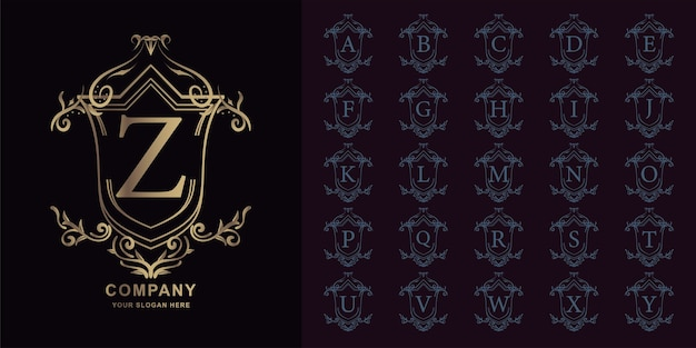 Letter z or collection initial alphabet with luxury ornament floral frame golden logo template.