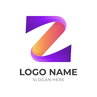 Letter z design with 3d orange and purple color style