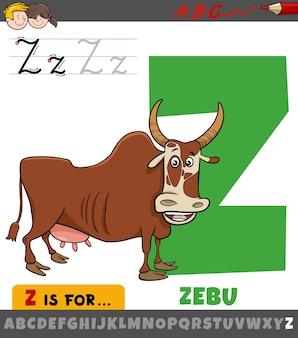 어린이를 위한 만화 zebu 동물 캐릭터와 함께 알파벳에서 문자 z