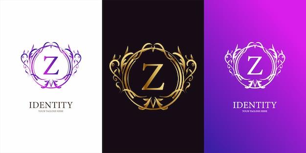 럭셔리 장식 꽃 프레임 로고 템플릿 문자 Z 초기 알파벳. 프리미엄 벡터