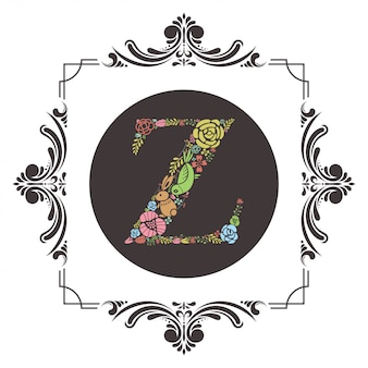 Letter z initial with floral vector
