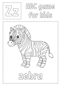 Letter z is for zebra. abc game for kids. alphabet coloring page.
