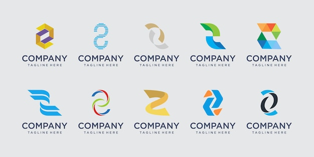 패션 디지털 기술 비즈니스를 위한 문자 z 로고 템플릿 아이콘 세트 디자인