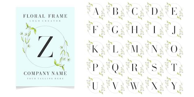 Letter z logo with floral frame