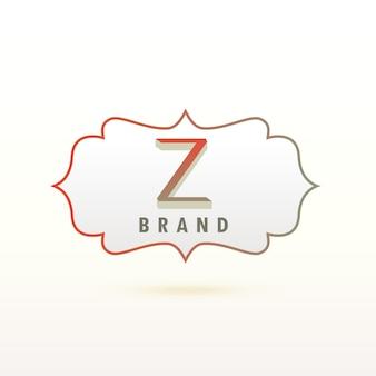 Letter z logo with ornamental frame