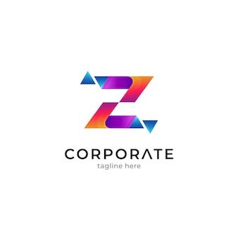 Letter z logo with pixel shape or crystal shard effect