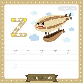 Letter z lowercase tracing practice worksheet. zeppelin