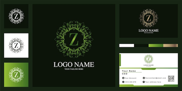 Letter z luxury ornament flower frame logo template design with business card.