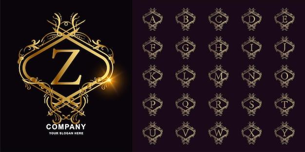 편지 z 또는 고급 장식 꽃 프레임 황금 로고 템플릿이 있는 컬렉션 초기 알파벳입니다.