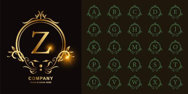 문자 z 또는 럭셔리 장식 꽃 프레임 황금 로고 템플릿 컬렉션 초기 알파벳.