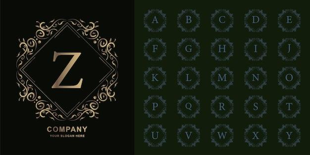 Буква z или начальный алфавит коллекции с роскошным орнаментом цветочная рамка золотой шаблон логотипа.