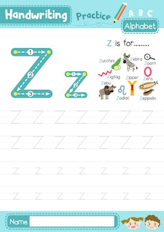 Letter z uppercase and lowercase tracing practice worksheet