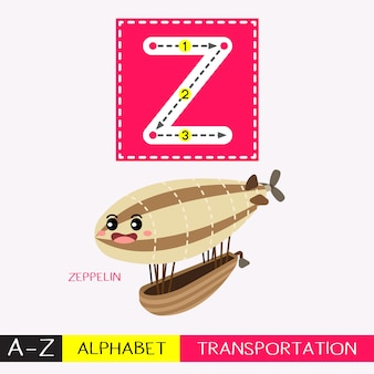 Letter z uppercase tracing transportations vocabulary