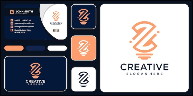 Letter z with bulb idea logo design inspiration with business card