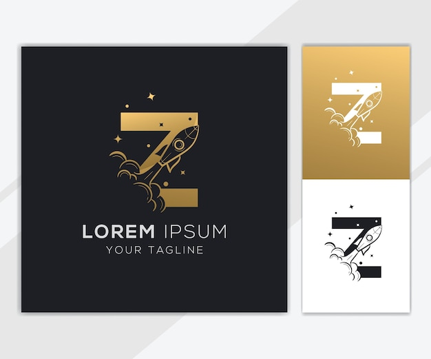 Letter z with luxury abstract rocket logo template