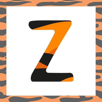 Letter z with tiger pattern. festive font and frame from orange with black stripes alphabet, symbol for new year and christmas