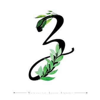 Letter z with watercolor leaves background