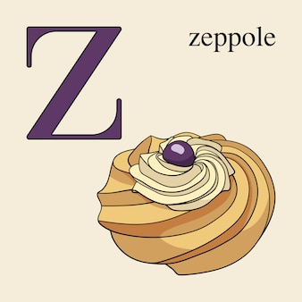 Letter z with zeppole