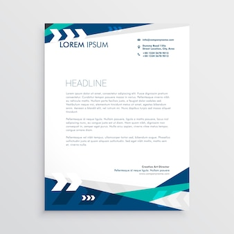 Letterhead design with blue geometric shapes and arrow