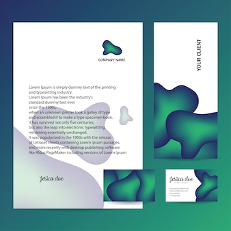Letterhead,envelope and business card with trendy design