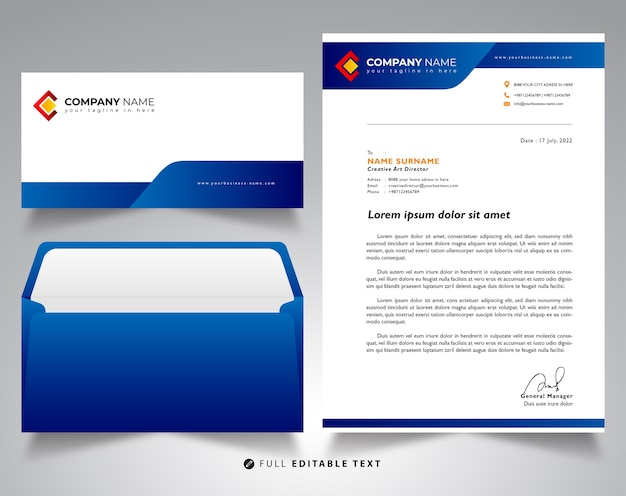 Letterhead envelope business mockup template