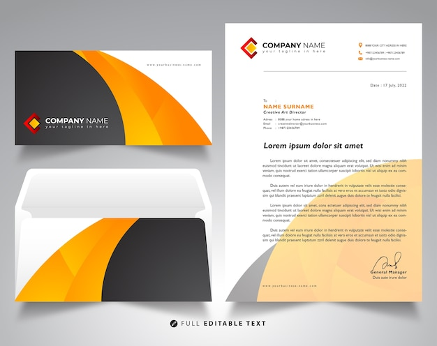 Letterhead envelope business mockup