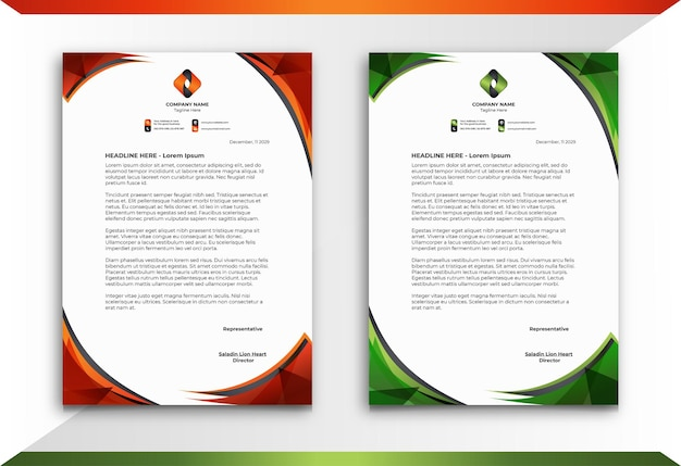 Letterhead in orange and green abstract style