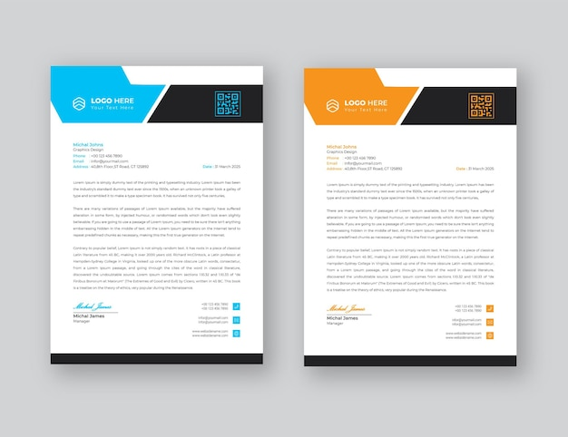 Letterhead template  flat style design