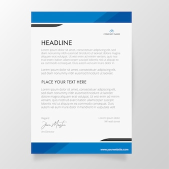 Letterhead template with blue colors