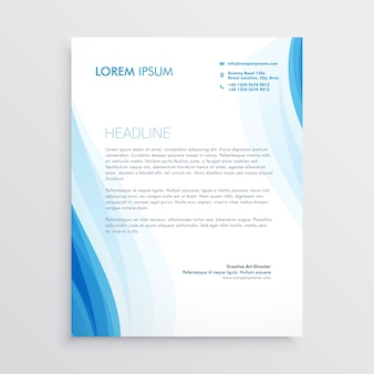 Letterhead template with blue wavy shapes