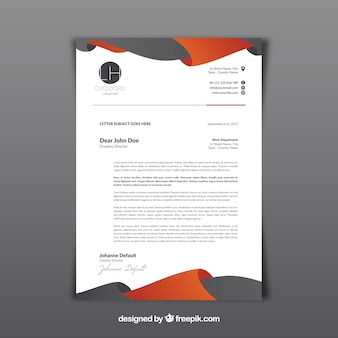 Letterhead template with gray and orange abstract shapes