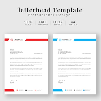 Letterhead template with various colors