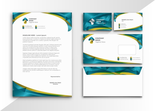Letterhead in turquoise and gold color abstract style