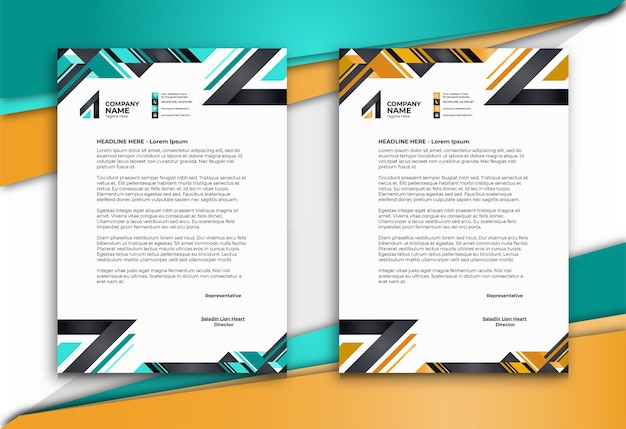 Letterhead with abstract styled shapes in two colors