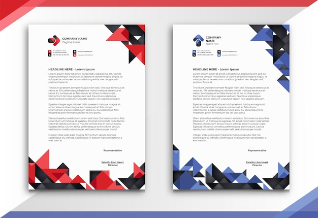 Letterhead with abstract and unique style in two colors